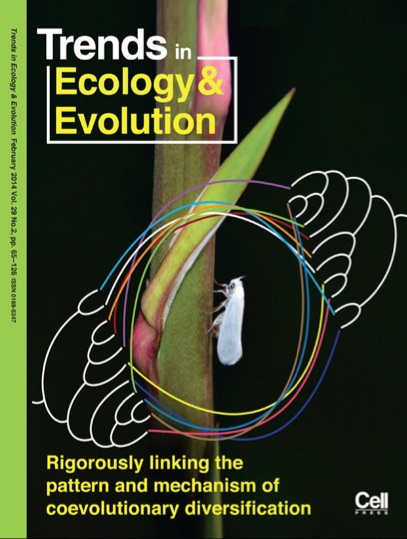 Journal cover showing a white flying insect on a plant